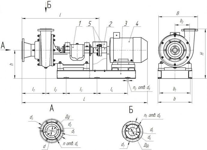 Габаритный чертеж агрегатов типа 6Ш8 и 6Ш8-2